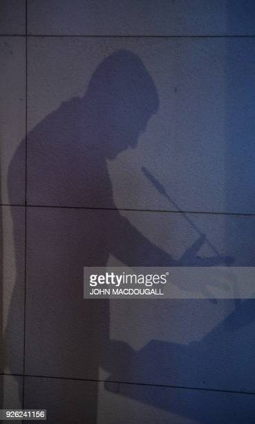The Prime Minister of the Netherlands Mark Rutte casts a shadow as he gives a speech on the future of Europe on March 2 2018 at the Bertelsmann...