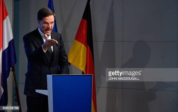 The Prime Minister of the Netherlands Mark Rutte gives a speech on the future of Europe on March 2 2018 at the Bertelsmann foundation in Berlin / AFP...