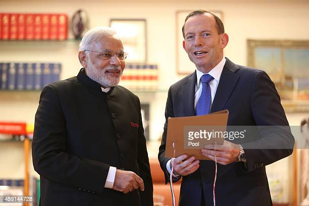 The Prime Minister of the Republic of India Narendra Modi at a bilateral meeting with Prime Minister Tony Abbott at which Mr Modi gave Mr Abbott an...