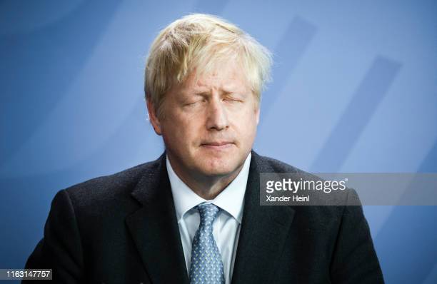 The Prime Minister of the United Kingdom Boris Johnson at a press conference at the German Chancellery on August 21 2019 in Berlin Germany