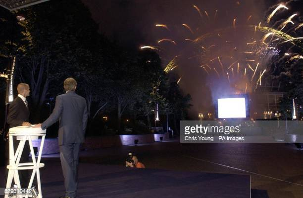 The Prime Minister Tony Blair and England captain David Beckham switch on the fireworks to mark the 'Topping Ceremony' at Wembly Stadium in north...