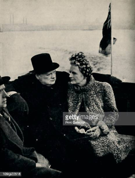 The Prime Minister Visits London's Docks' circa 1940 British Prime Minister Winston Churchill and his wife Clementine visiting the London docks after...