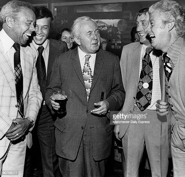 The Prime Minister with entertainers Charlie Williams Peter Gordeno Collin Crompton and Danny La Rue Wilson was one of the longest serving Labour...