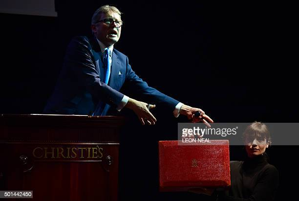 The Prime Ministerial dispatch box of former British Prime Minister Margaret Thatcher is displayed during an auction of items belonging to Margaret...