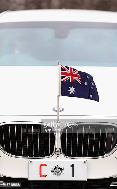 The Prime Ministers car waits after Prime Minister Malcolm Turnbull delivered his election address to the National Press Club on June 30 2016 in...