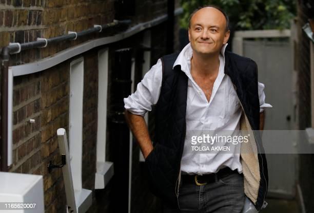 The prime minister's special advisor Dominic Cummings leaves his home in London on September 2 2019 Britain's Prime Minister Boris Johnson prepared...
