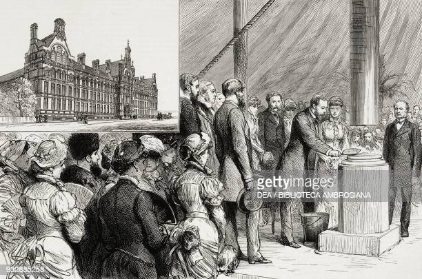 The Prince Albert Edward of Wales laying the foundation stone of the City and Guilds of London Technical Institute at South Kensington England United...