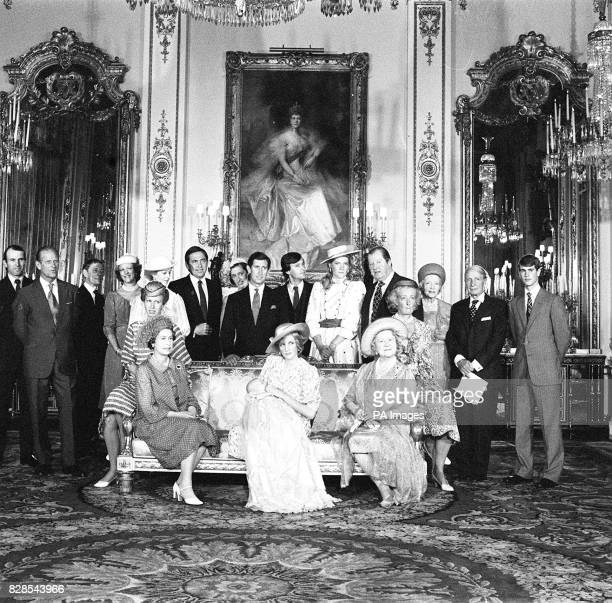 The Prince and Princess of Wales and their infant son Prince William of Wales in the White Drawing room at Buckingham Palace with some of the guests...