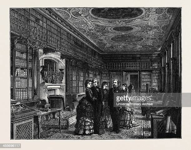 The Prince And Princess Of Wales At Chatsworth: The Library.