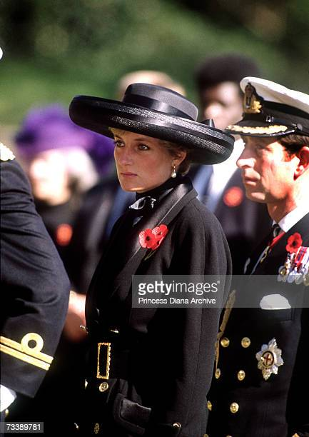 The Prince and Princess of Wales at the Hodogaya Cemetery in Yokohama November 1990 The Princess is wearing a Chanel suit and a Philip Somerville hat