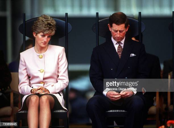 The Prince and Princess of Wales attend a welcome ceremony in Toronto at the beginning of their Canadian tour, October 1991.