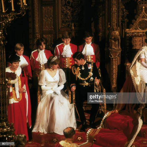 The Prince and Princess of Wales attend their first State Opening of Parliament as a married couple 4th November 1981
