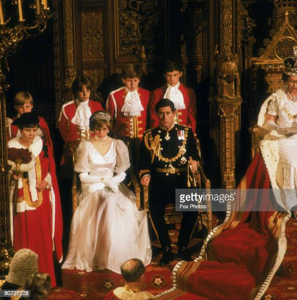 The Prince and Princess of Wales attend their first State Opening of Parliament as a married couple 4th November 1981 Queen Elizabeth II is seated on...