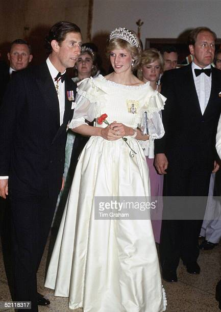 The Prince And Princess Of Wales Attending A Banquet During Their Official Tour Of Canada She Is Wearing A Dress Designed By Fashion Designer Gina...