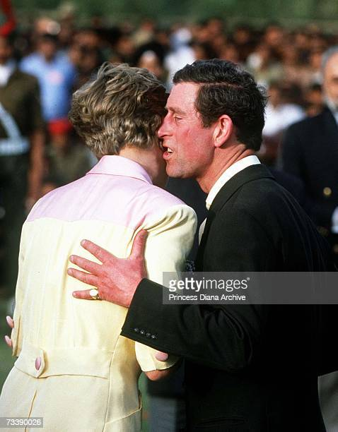 The Prince and Princess of Wales attending a prize giving ceremony at a polo match in Jaipur during an official visit to India February 1992 Diana is...