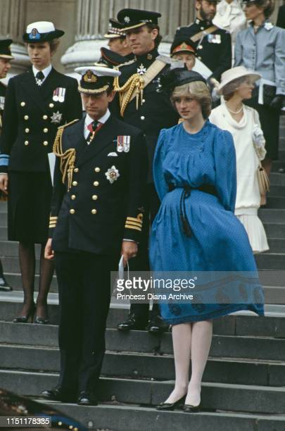The Prince and Princess of Wales attends a thanksgiving service at the end of the Falklands War at St Paul's Cathedral in London, July 1982. The...