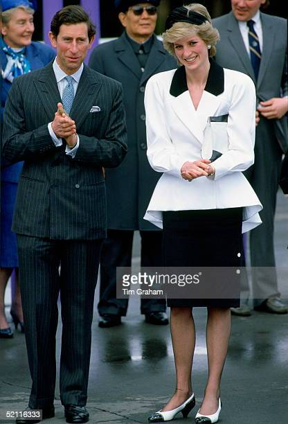 The Prince And Princess Of Wales During A Visit To Vancouver Canada She Is Wearing A Suit Designed By Fashion Designer Bruce Oldfield