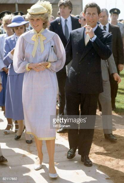 The Prince And Princess Of Wales During A Walkabout In Canada