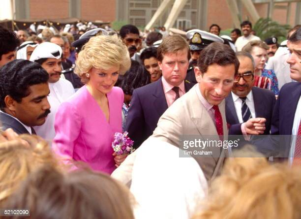 The Prince And Princess Of Wales During Their Gulf Tour Standing Behind Is The Princess's Bodyguard Ken Wharfe Just Visible At Right Is The Prince's...