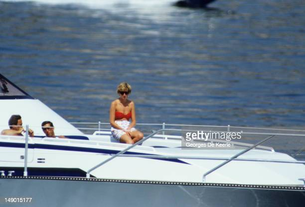 JANUARY 01 JANUARY 01 The Prince and Princess of Wales holiday on a yacht with King Constantine II of Greece 1990 circa