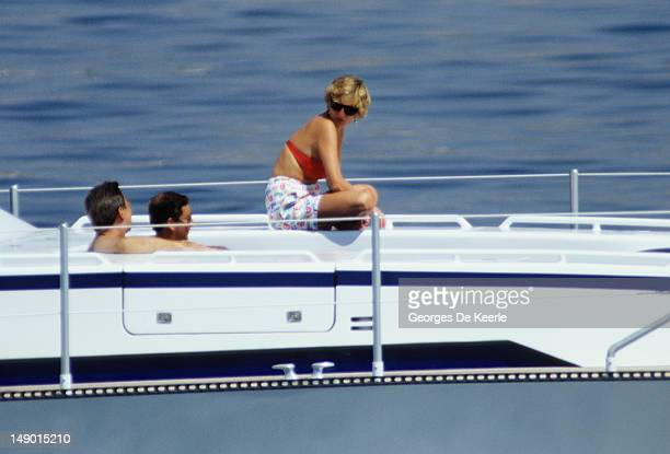 JANUARY 01 The Prince and Princess of Wales holiday on a yacht with King Constantine II of Greece 1990 circa