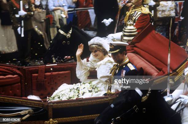 The Prince and Princess of Wales in a carriage after their wedding at St Paul's Cathedral.