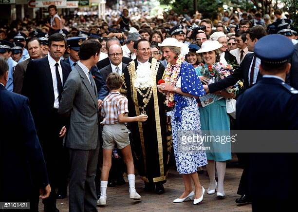 The Prince And Princess Of Wales In Brisbane Australia On Her First Overseas Tour With Them Are Ladyinwaiting Anne Beckwithsmith The Prince's Private...