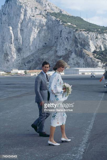 The Prince and Princess of Wales in Gibraltar before leaving on the Royal Yacht Britannia for their honeymoon cruise 31st July 1981 The Princess...