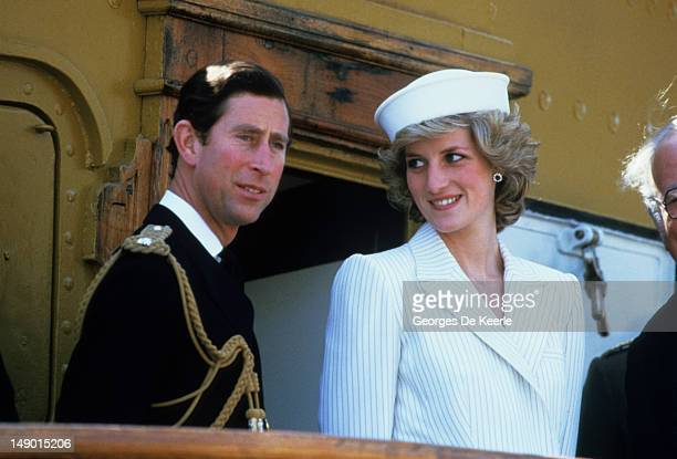 The Prince And Princess Of Wales In La Spezia During The Royal Tour Of Italy on April 20 1985 in La Spezia Italy