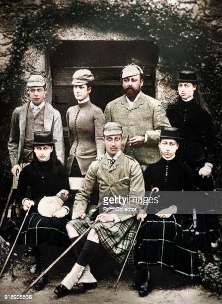 The Prince and Princess of Wales in shooting dress 1900 The future King Edward VII and guests probably at Balmoral Castle Illustration from The Life...