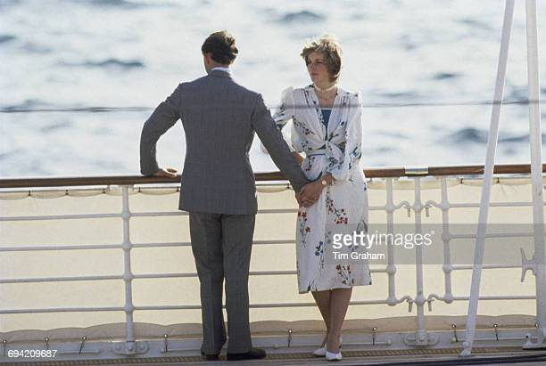 The Prince and Princess of Wales leave Gibraltar on the Royal Yacht Britannia for their honeymoon cruise, 1st August 1981. The Princess wears a...