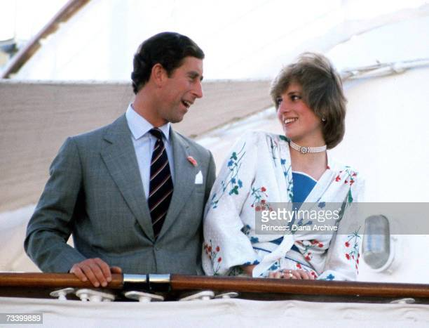 The Prince and Princess of Wales leave Gibraltar on the Royal Yacht Britannia for their honeymoon cruise 31st July 1981 The Princess wears a Donald...