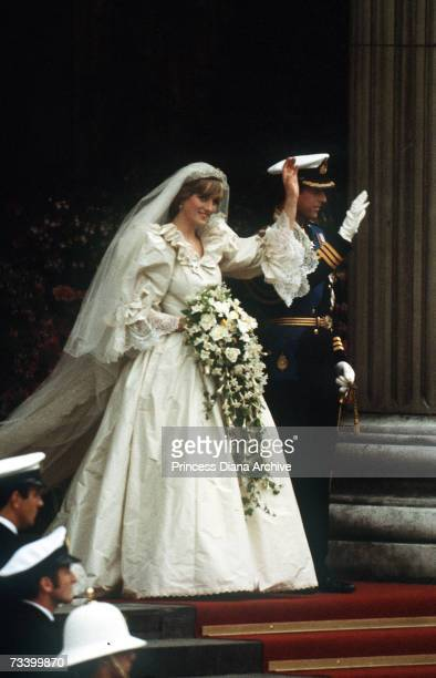 The Prince and Princess of Wales leave St Paul's Cathedral after their wedding 29th July 1981 She wears a wedding dress by David and Elizabeth...