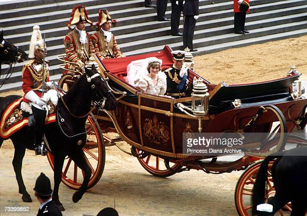 The Prince and Princess of Wales leave St Paul's Cathedral by carriage after their wedding, 29th July 1981.