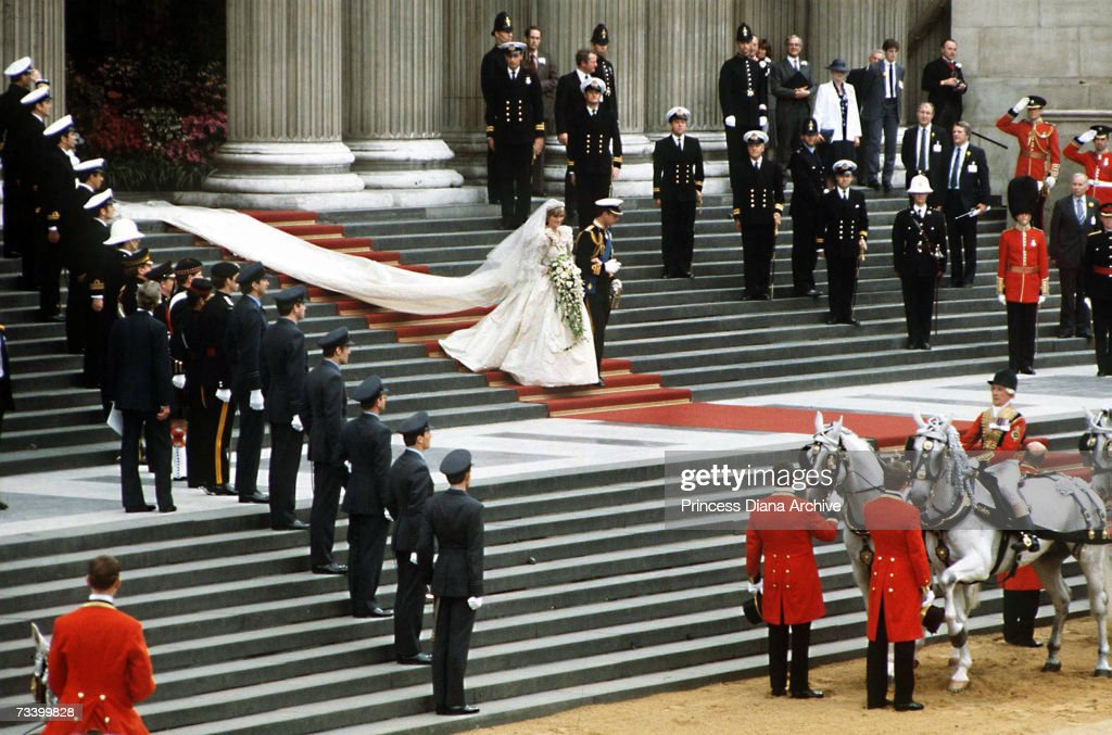 The Prince and Princess of Wales leave St Paul's Cathedral on their wedding day, 29th July 1981.