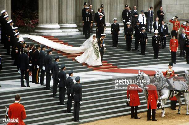 The Prince and Princess of Wales leave St Paul's Cathedral on their wedding day 29th July 1981