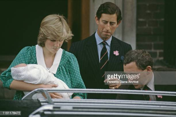 The Prince and Princess of Wales leave the Lindo Wing of St Mary's Hospital in London, with their one-day-old baby son Prince William, 22nd June 1982.