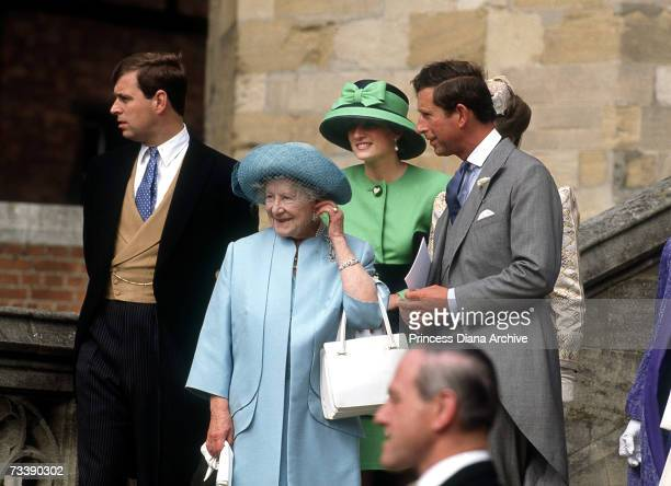 The Prince and Princess of Wales leaving Windsor Chapel after the wedding of Lady Helen Windsor and art dealer Tim Taylor, 18th July 1992. Also in...