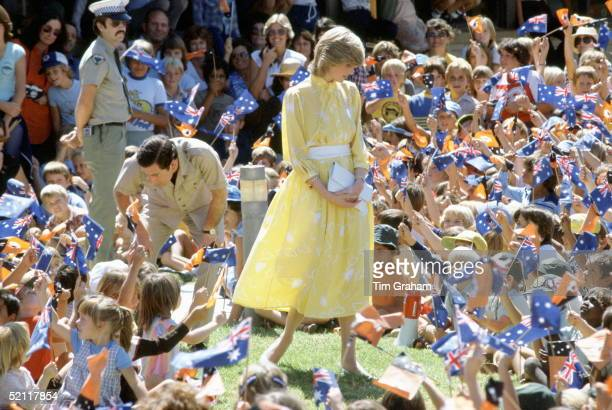 The Prince And Princess Of Wales Meeting School Children During A Trip To Alice Springs