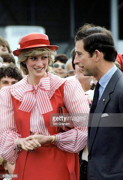 The Prince And Princess Of Wales Meeting The Crowds During Their Visit To Australia The Princess Is Wearing An Outfit Designed By Fashion Designers...