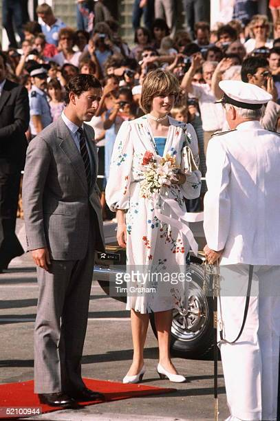 The Prince And Princess Of Wales On Their Honeymoon In Gibraltar The Princess Of Wales Is Wearing A Dress Designed By Donald Campbell