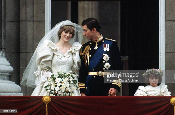 The Prince and Princess of Wales pose on the balcony of Buckingham Palace on their wedding day 29th July 1981