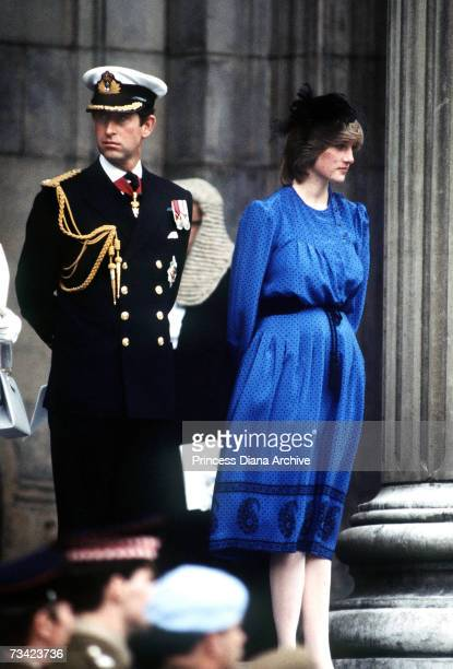 The Prince and Princess of Wales pose on the steps of St Paul's Cathedral in London after attending the Falklands War memorial service 21st October...