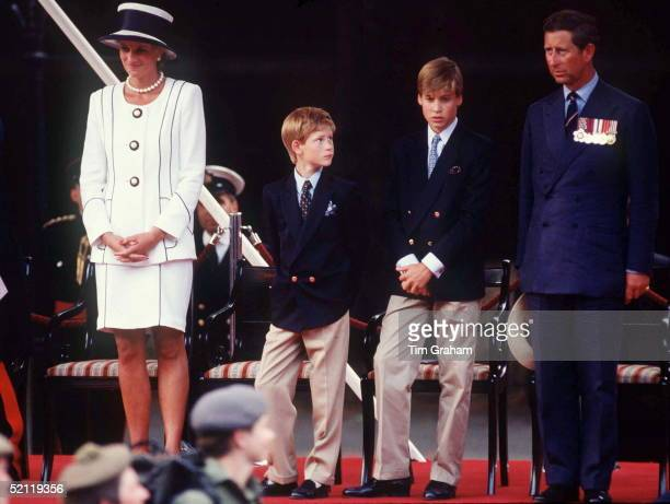 The Prince And Princess Of Wales Princes William Harry Attend Vj Day Commemorative Events Designer Of Diana's Suit Tomasz Starzewski