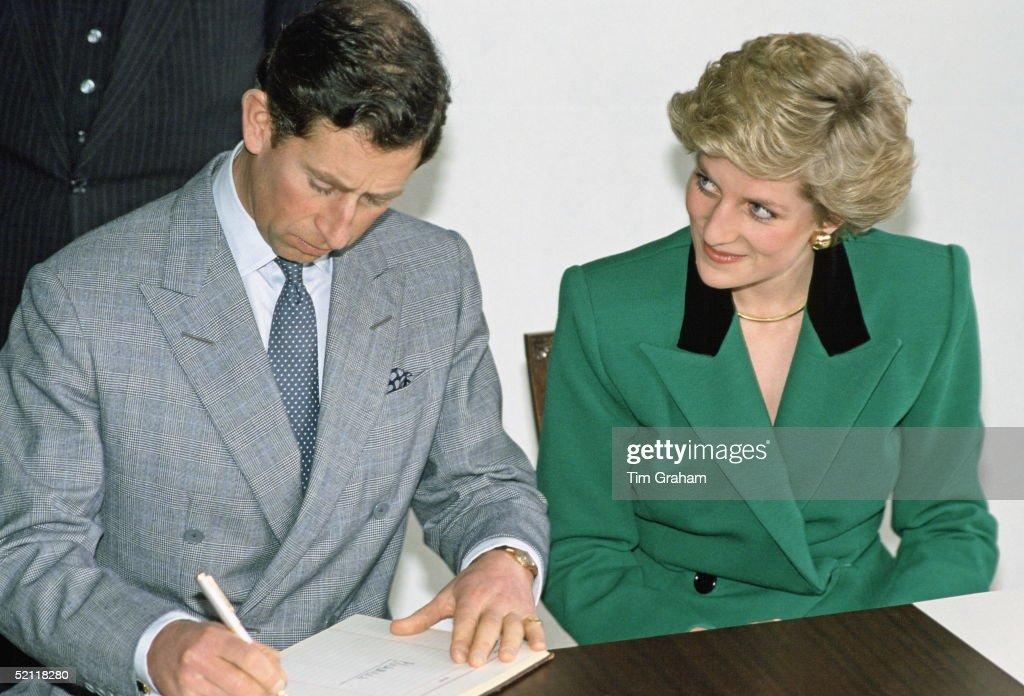 Charles And Diana Sign Visitors Book : News Photo