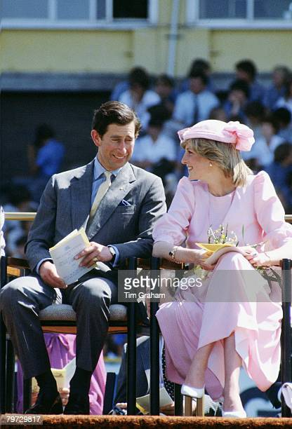 The Prince and Princess of Wales sit together during their first tour to Australia