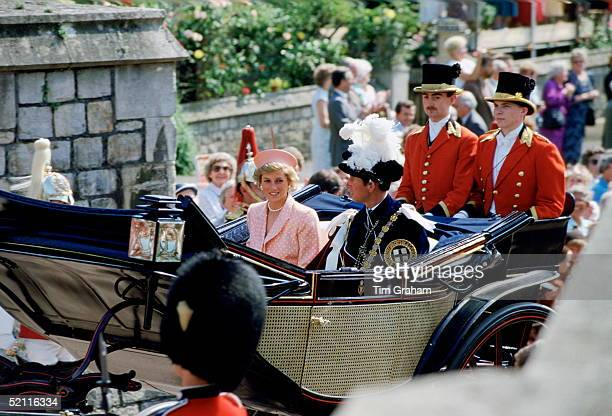 The Prince And Princess Of Wales Taking Part In The Garter Ceremony In Windsor Diana Is Wearing A Suit Designed By Fashion Designer Catherine Walker