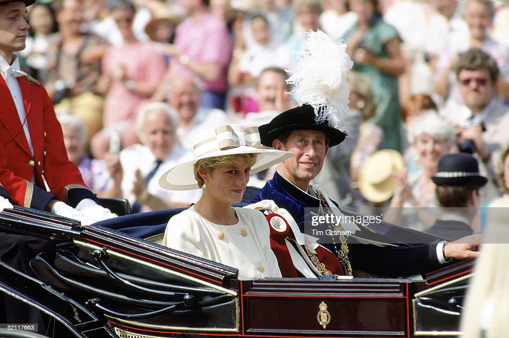 The Prince And Princess Of Wales Taking Part In The Garter Ceremony At Windsor Castle