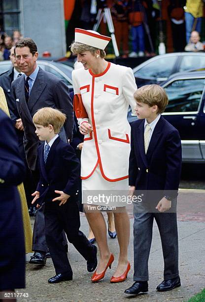The Prince And Princess Of Wales Visit A Church In Toronto Canada With Their Two Sons William And Harry