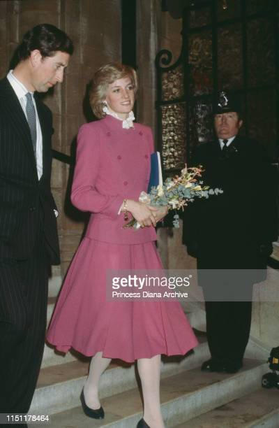The Prince and Princess of Wales visits the Royal Albert Hall and Royal College of Music in London, December 1982. The Princess is wearing a pink...